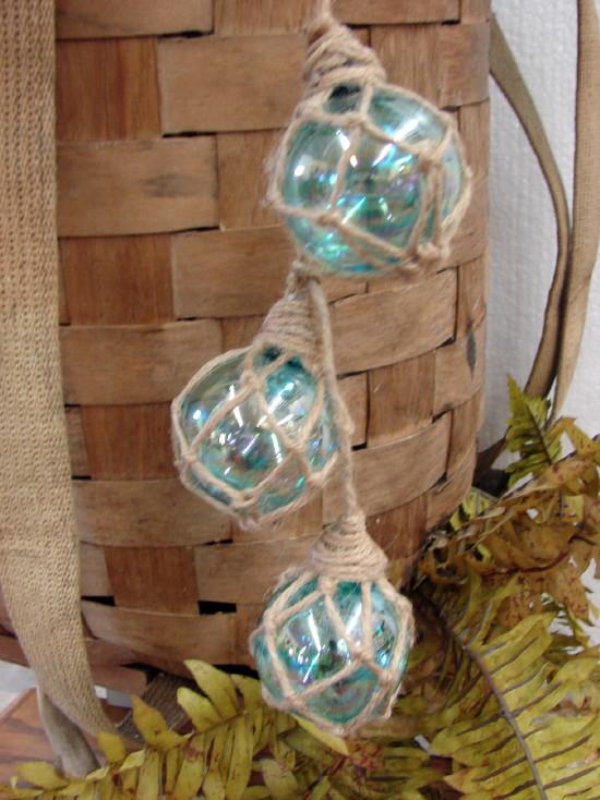Set/3 Glass Fishing Net Float Ornament Cottage Beach Ocean Sea Shore, Moose-R-Us.Com Log Cabin Decor
