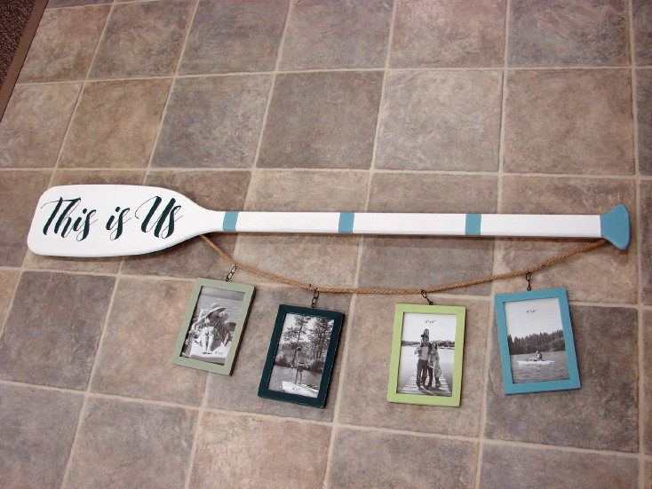 4 Foot This is Us 4 Frame Wall Hanging Boat Oar 4×6 Picture Frames, Moose-R-Us.Com Log Cabin Decor