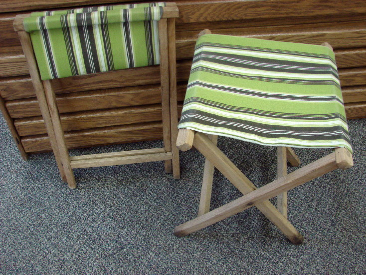 Vintage Fold-up Canvas Camp Stool Retro Camping Folding Chair, Moose-R-Us.Com Log Cabin Decor