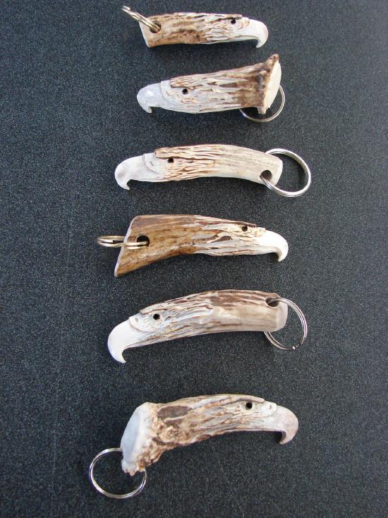 Real Deer Antler Hand Carved Eagle Head Key Chain, Moose-R-Us.Com Log Cabin Decor