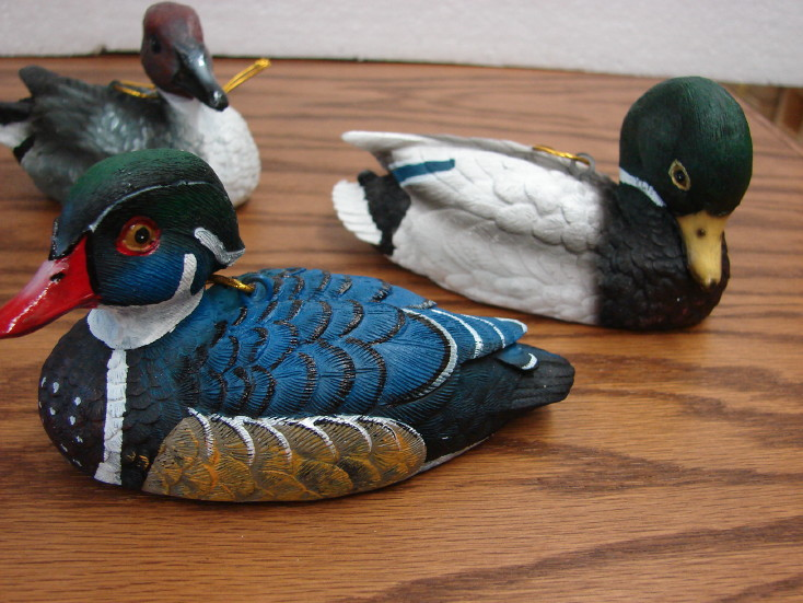 Large Set/4 Duck Decoy Ornaments Hunting Wildlife Theme, Moose-R-Us.Com Log Cabin Decor